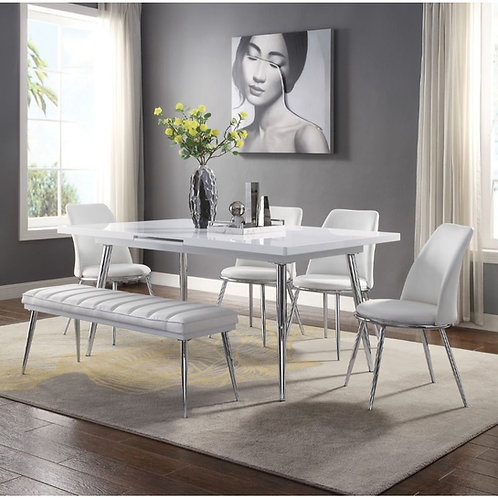 Weizor All Dining Table White High Gloss & Chrome