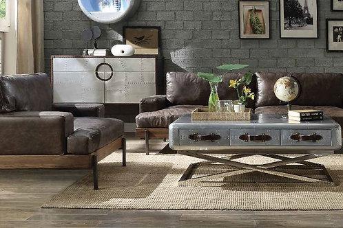 Silchester All Sofa Oak & Distress Chocolate Top Grain Leather