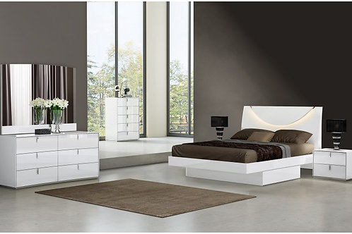 Belagio White Modern Bed
