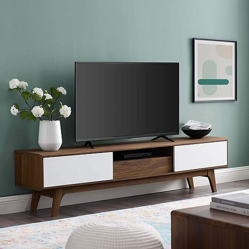 """Envision 70"""" Mod Wood TV Stand in Walnut White"""