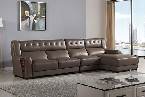 125 AE Dark Tan Top-grain Cow Hide Sectional - Left Sitting