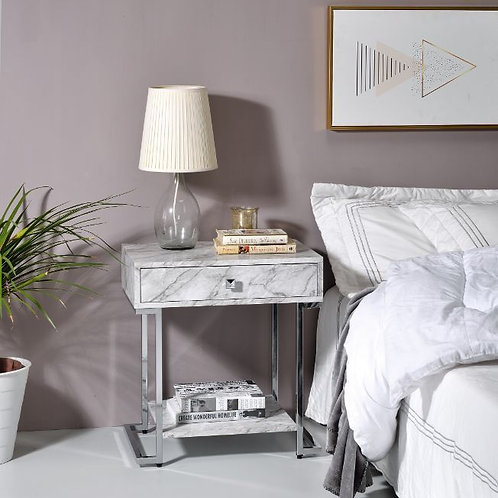All WITHER 97868 White Printed Faux Marble & Chrome Finish Night Stand