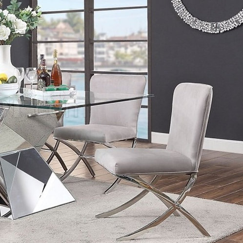 Noralie All Modern Gray Velvet Chair