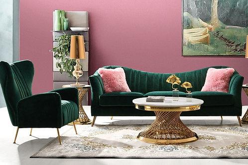 Ava Dream Emerald Velvet / Gold Base Sofa