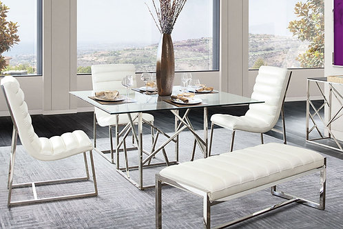 Nest Dream Clear/Glass Polished Stainless Steel Square Dining Table