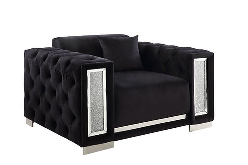 All TRISLAR Tufted Button & Mirror Trim Black Velvet Chair