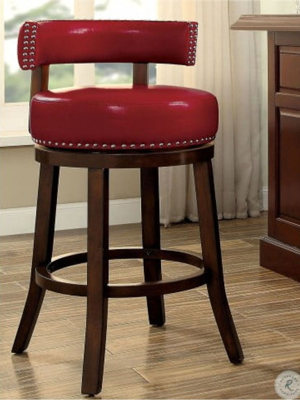 SHIRLEY Imprad 25'' Transitional Red Leatherette w/Nailhheads Counter Ht. Stool