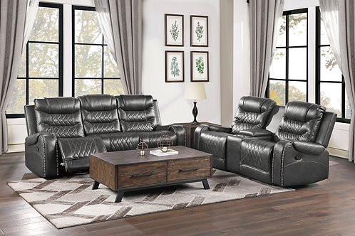 Putnam Henry Grey Double Reclining Sofa with Drop-Down Cup Holders and USB ports