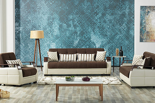 Diva Dogal Royal Brown Fabric Sofa Sleeper Sofa