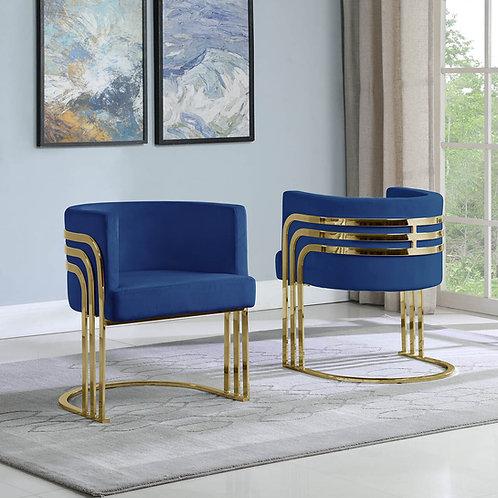 AC221 BestQ Navy Blue/Gold Velvet Chair