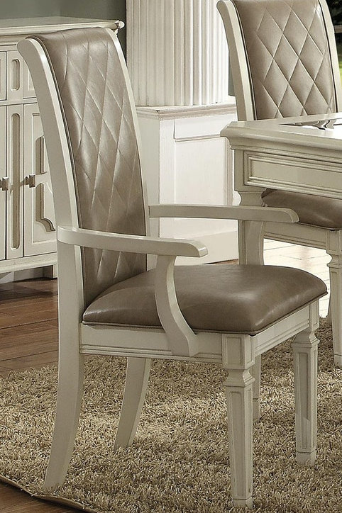Florissa All Antique White Finish/PU Arm Chair