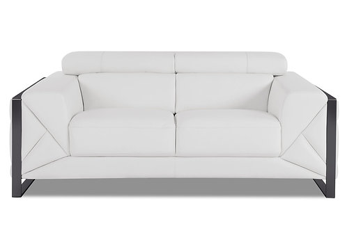 903 Geo Italian Leather White Loveseat