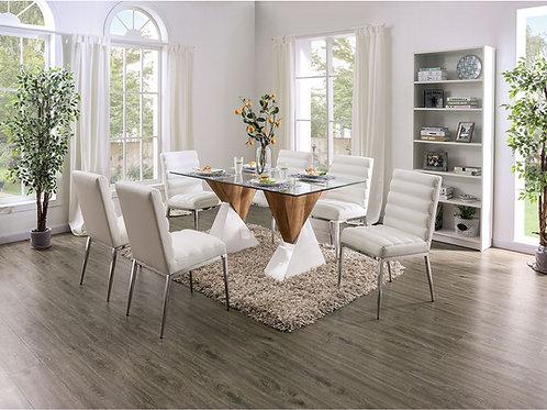 BINJAI Imprad Glass/White-Natural Tone 2 Pedestal Dining Table