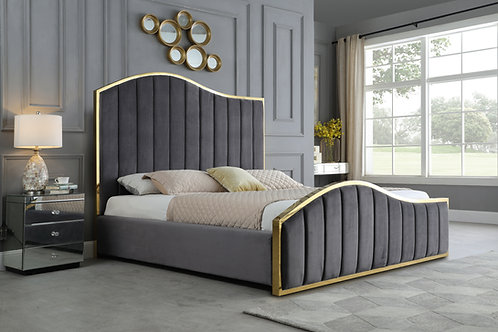 Best B61 Grey Velvet Fabric Platform Bed with Gold Accents
