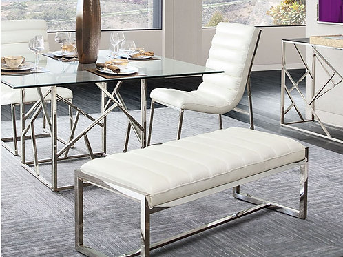 Bardot Dream Leather Bench w/Stainless Steel Base