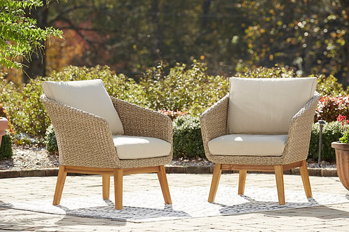 Crystal Cave Angel Beige Mid-Century Patio Lounge Chair w/Cushion