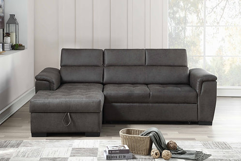 8009 Milt Pull Out Gray Sectional
