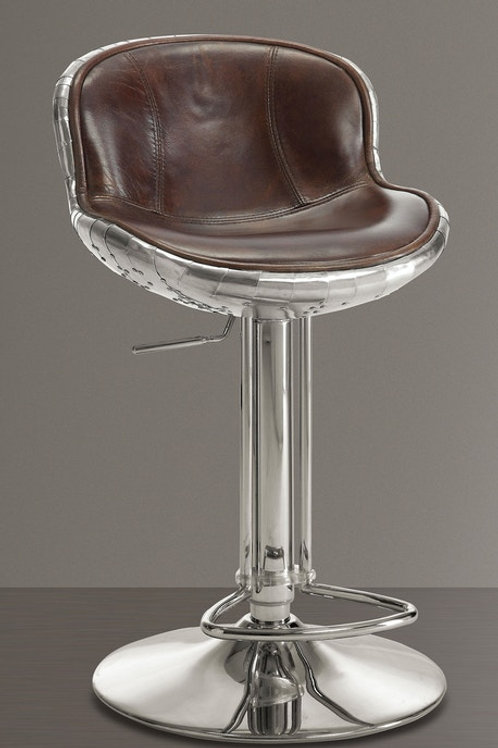 Brancaster All Brown Top Grain Leather Adjustable Stool
