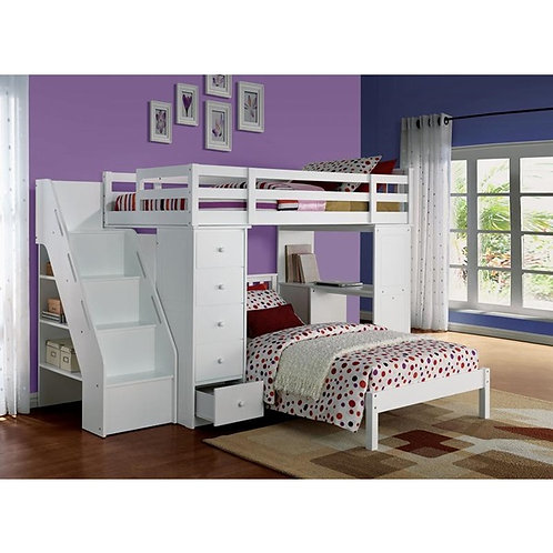 Freya All White Bunk Bed with Storage & Bookcase Ladder