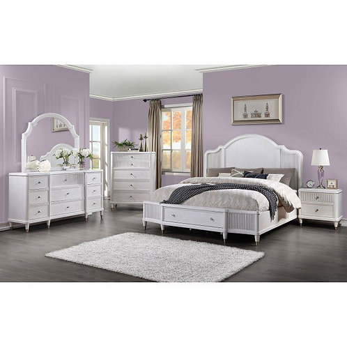 Celestia All Off White Platform Bed with Storage