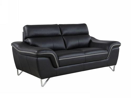 168 Geo Modern Leather Black Loveseat