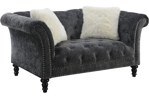 Hutton II Emer Charcoal Chesterfield Loveseat
