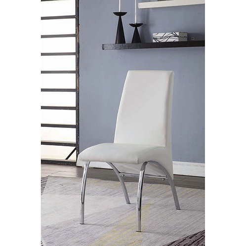 Noland All White Faux Leather Side Chair