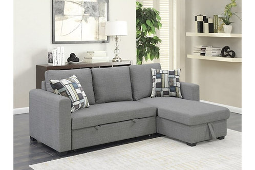 Emeral Langley Gray Sleeper Sofa Chaise w/Storage