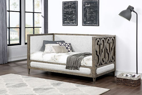 All Tan Fabric & Salvaged Natural Finish Daybed - 39710