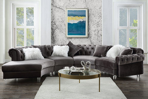 All Gray Velvet - Acrylic Legs Sectional Sofa w/7 Pillows