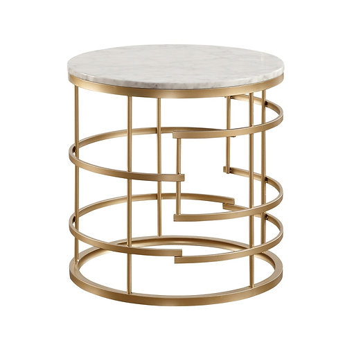 Brassica Henry Faux Marble End Table with Gold Base