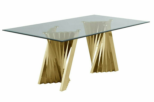 D02 Best Glass Top/Gold Base Dining Table