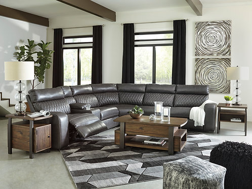 Samperstone Angel Gray Power Reclining 6pc Sectional