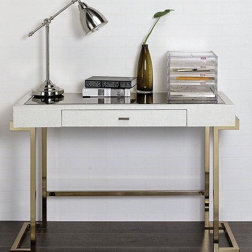 All Boice Desk White PU & Champagne