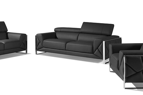 903 Geo Italian Leather Dark Gray Sofa