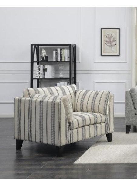 Emeral Elsbury Strip Gray Fabric Chair