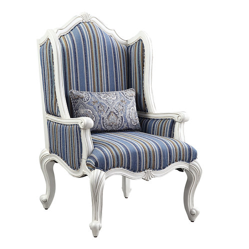 All Ciddrenar Traditional Blue Pattern Fabric Winged Back Chair