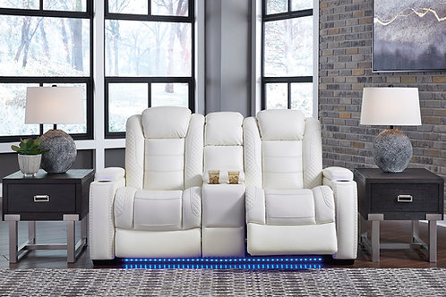 Party Angel White PWR REC Loveseat/CON/ADJ HDRST