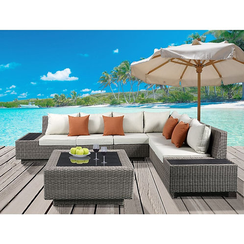 All Salena Patio Sectional & Cocktail Table - 45020 - Beige Fabric & Gray Wicke