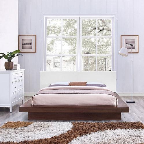 Freja Mod Queen Vinyl Platform Bed in Walnut White