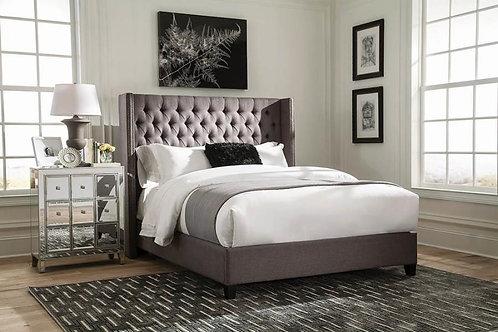 Bancroft Cali Upholstered Grey Bed