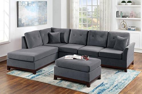 2-Pcs Sectional Sofa Grey Velvet Port 8849