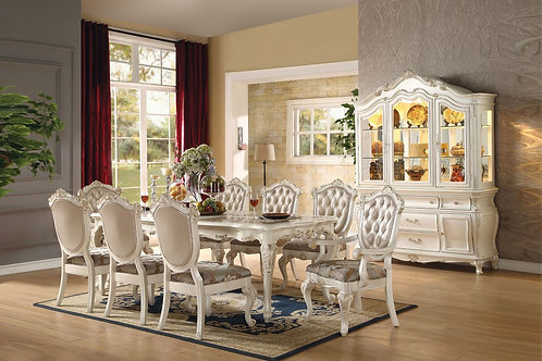 Chantelle All Dining Table Marble & Pearl White