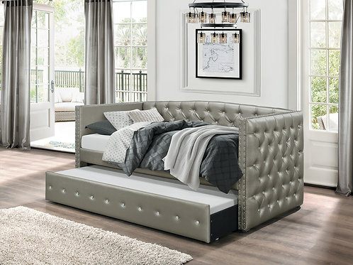 Tril Henry Gray Faux Leather Twin Daybed w/ Trundle