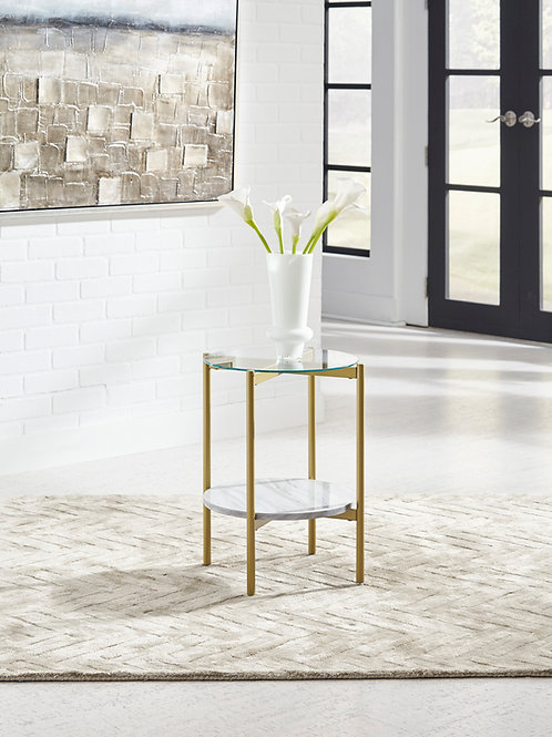 Wynora Angel White/Gold Round End Table
