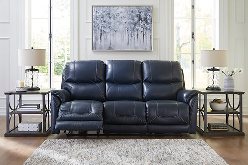 Angel Dellington Dark Blue Leather PWR Reclining Sofa W/Adjustable Headrest