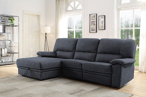 All TRIFORA Dark Gray Fabric Reclining Storage Sectional Sofa w/Chaise