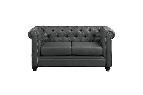 Walstone Henry Gray Polished Microfiber Loveseat