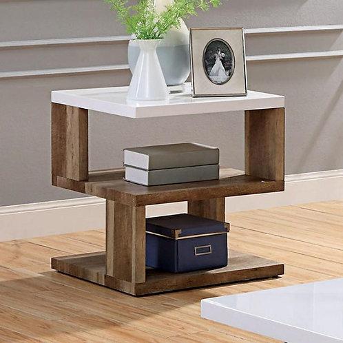 MAJKEN Imprad Contemporary White, Natural Tone End Table