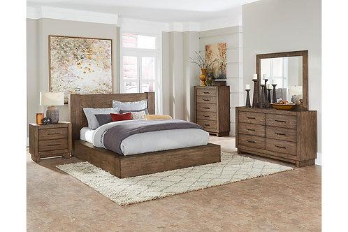 Korlan Henry Brown Oak Contemporary Bed